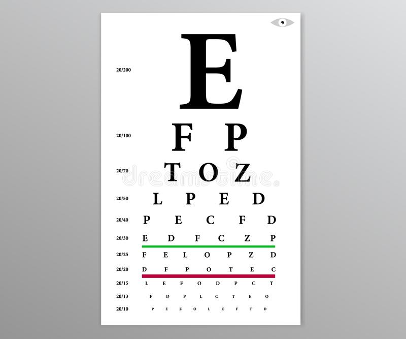 Test table with letters for eye stock illustration