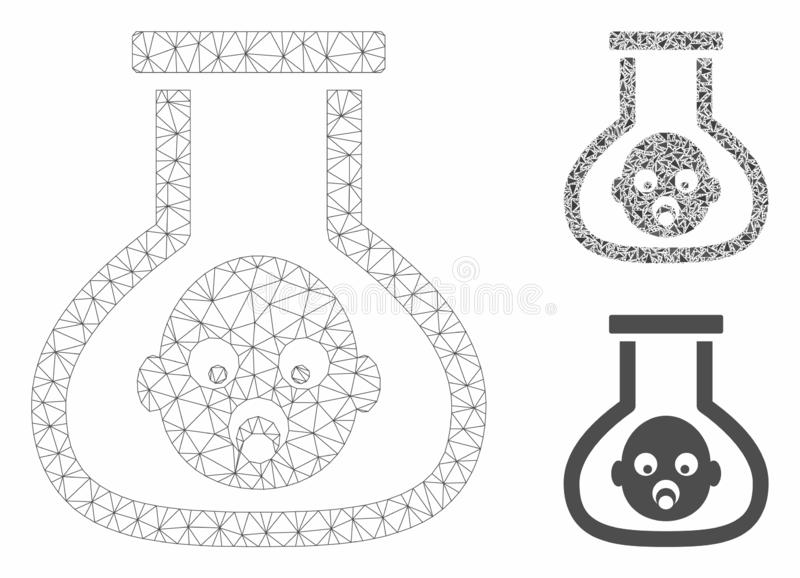 Test Tube Baby Vector Mesh Network Model and Triangle Mosaic Icon stock illustration