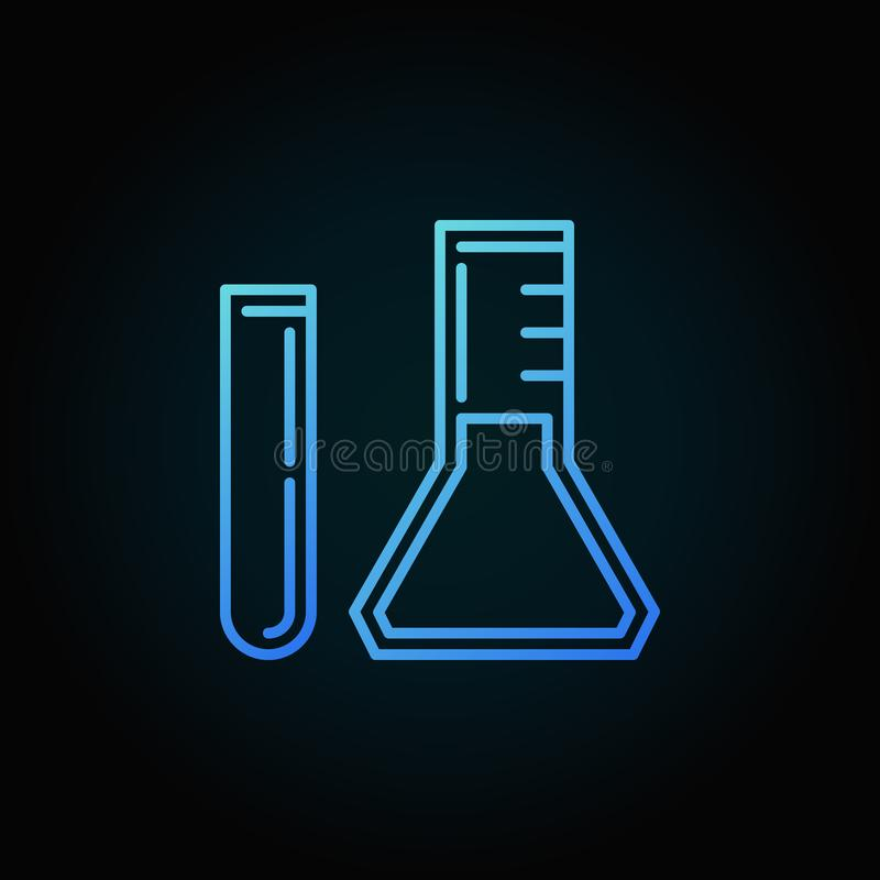 Test Tube and Conical flask vector blue outline icon or logo stock illustration