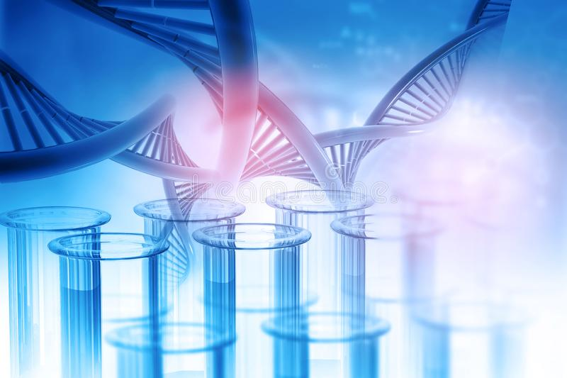 Test tube with DNA. On abstract background. 3d illustration vector illustration