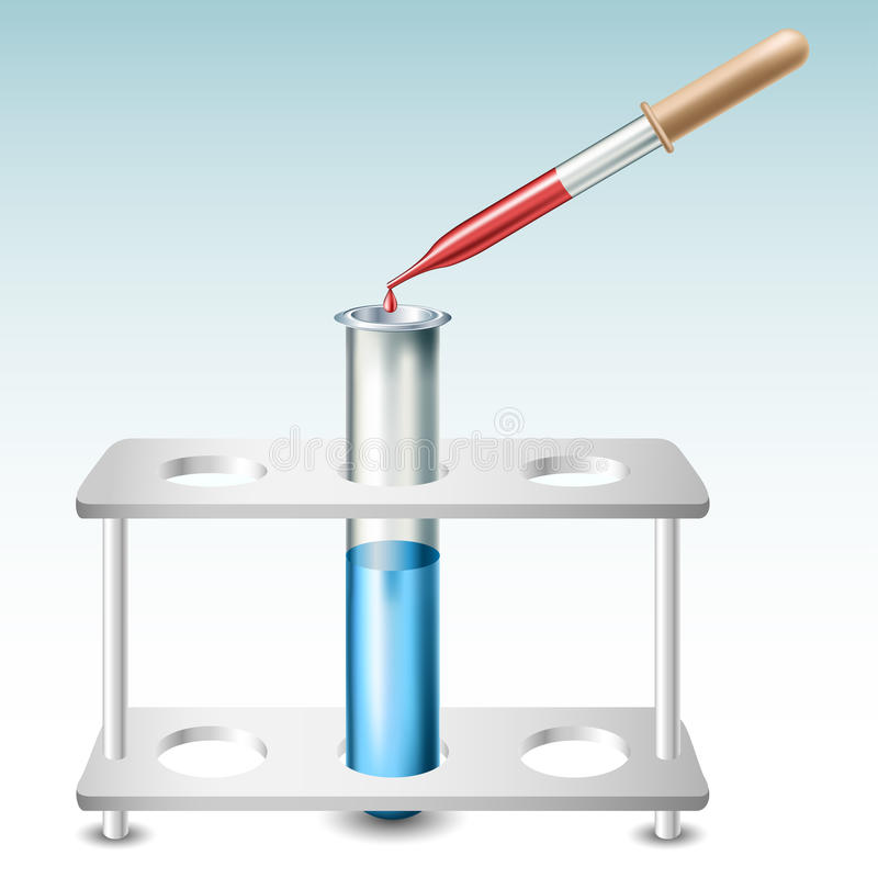Test tube with holder and pipette. Test tube with blue liquid in holder and pipette with red drop vector illustration
