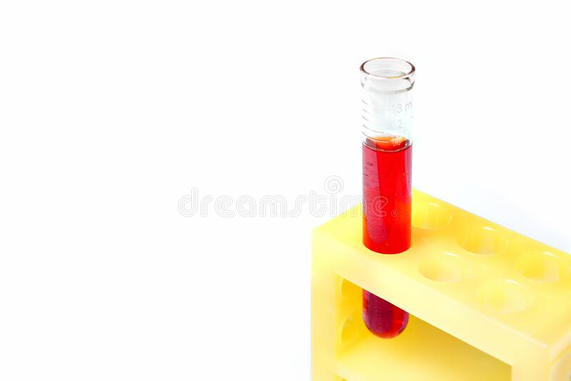 Test tube with red liquid stock photos