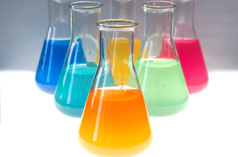 Test tubes. Isolated fulled with different color chemicals stock photo