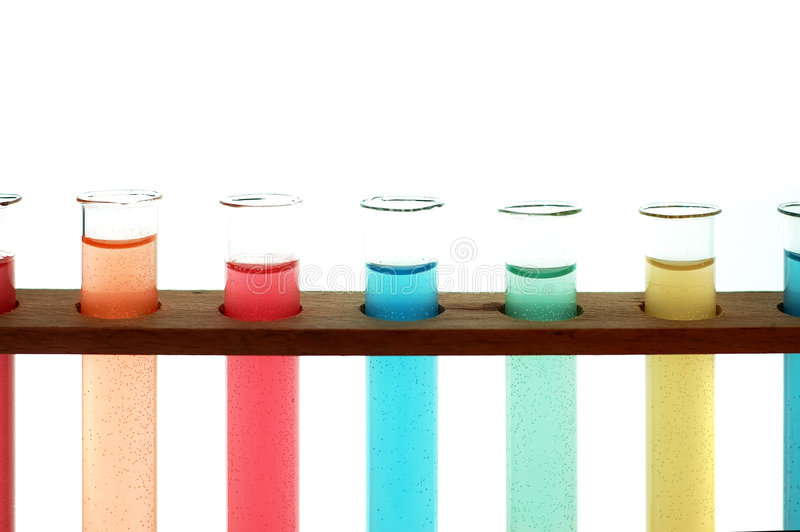 Test tubes. Isolated fulled with different color chemicals stock photos