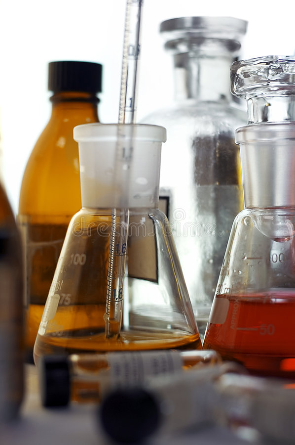Test tubes. Workplase in research laboratory flasks royalty free stock photo