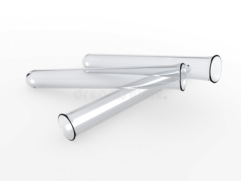 Test tubes. An isolated three glass test tubes on white background stock illustration