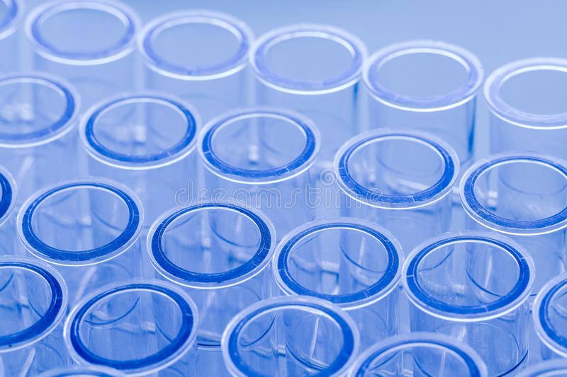 Test tubes, blue toned in laboratory royalty free stock image