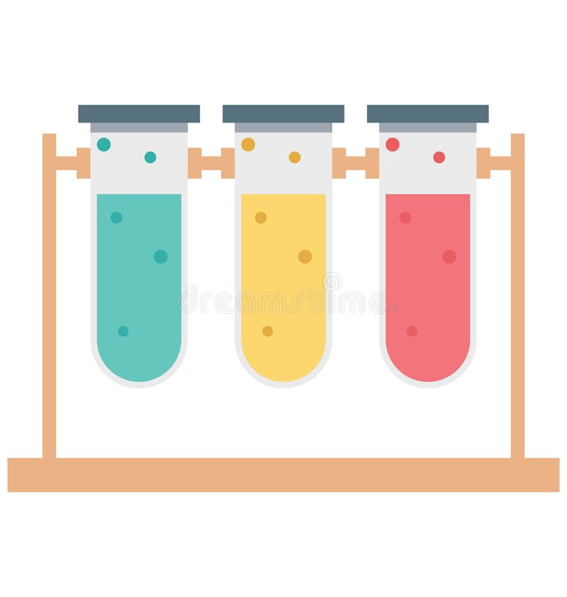 Test Tubes Color Isolated Vector Icon that can be easily modified or edit stock illustration