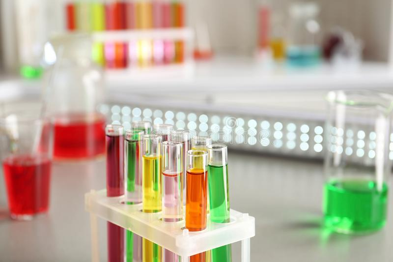 Test tubes with colorful samples in laboratory royalty free stock photos