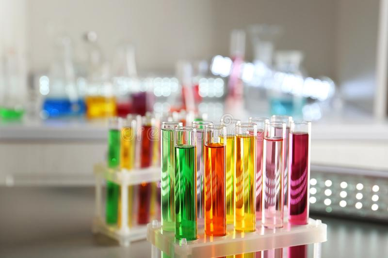 Test tubes with colorful samples in laboratory royalty free stock image