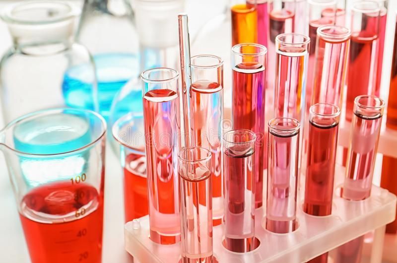 Test tubes with colorful samples in laboratory, closeup royalty free stock photos
