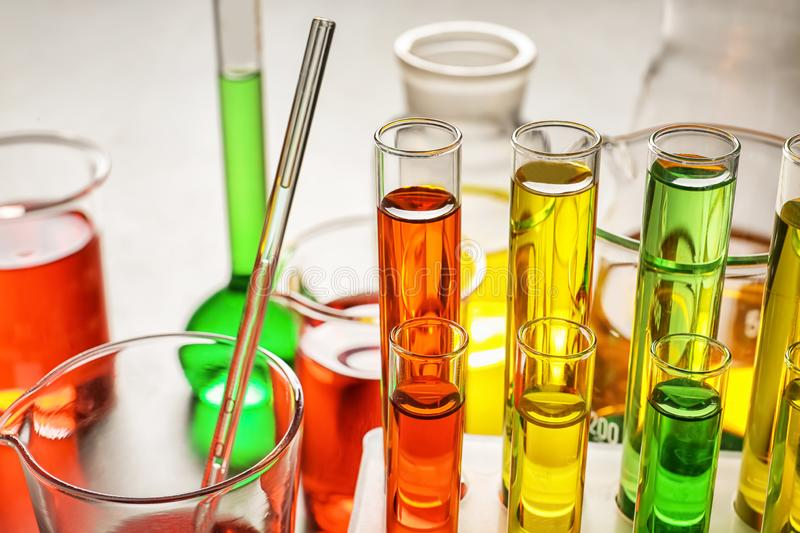 Test tubes with colorful samples in laboratory, closeup royalty free stock photography
