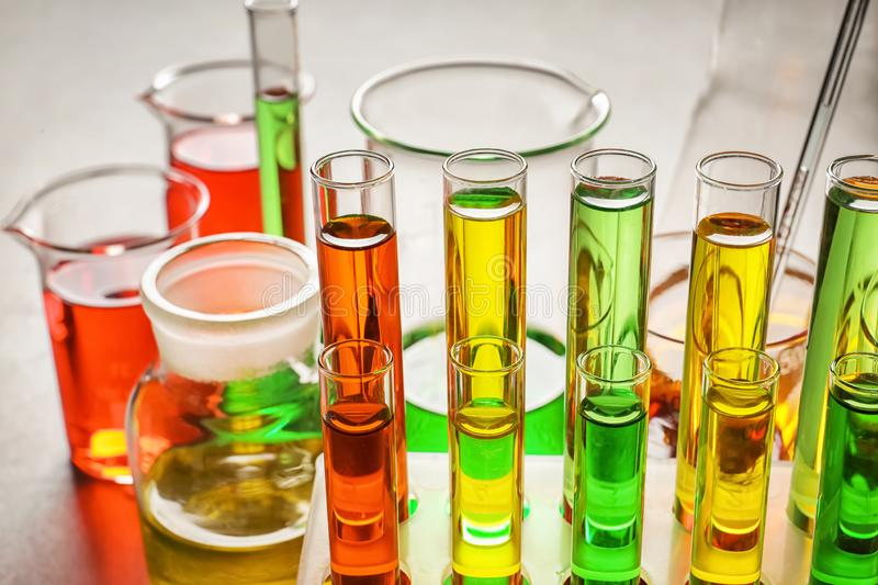 Test tubes with colorful samples in laboratory, closeup royalty free stock image