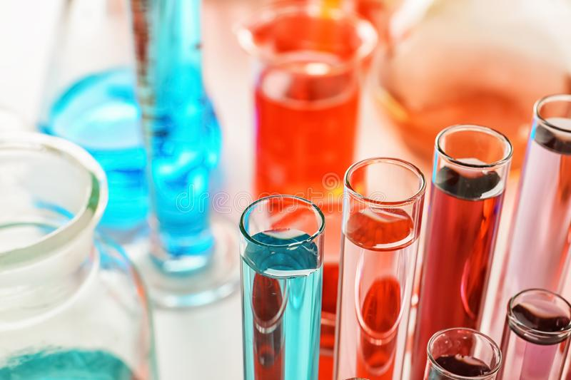 Test tubes with colorful samples in laboratory, closeup royalty free stock photo