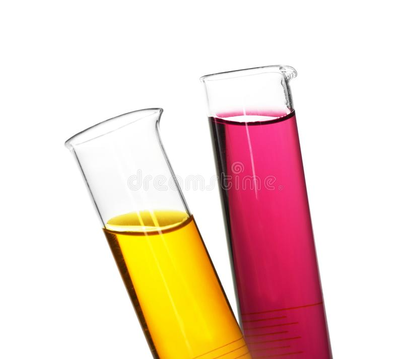 Test tubes with colorful samples on white background, closeup royalty free stock photography