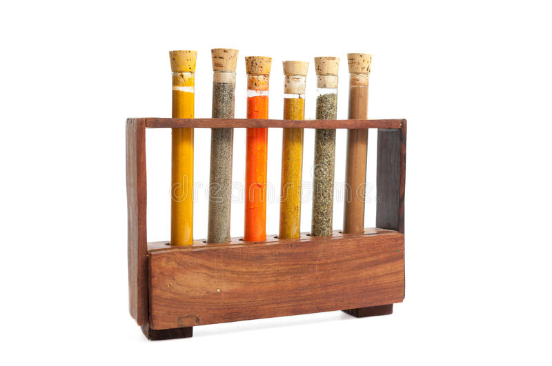 Test tubes with cooking spices stock photos