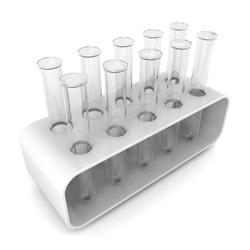 Test tubes in holder. 3d illustration on white background royalty free illustration