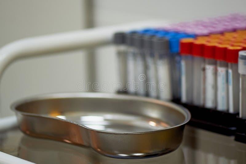 Test tubes and a metal bath.Medical examination. royalty free stock photos