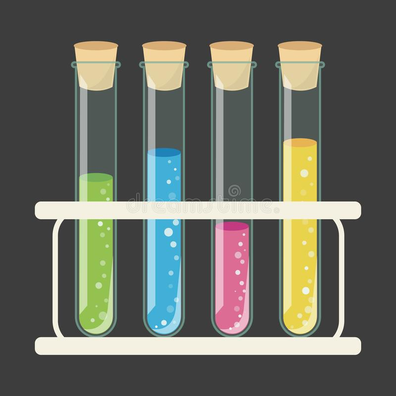 Test Tubes with Stopper in Holder. Test tubes laboratory glassware with holder stand. Test tubes with colorful liquid solution vector illustration. Test tubes royalty free illustration