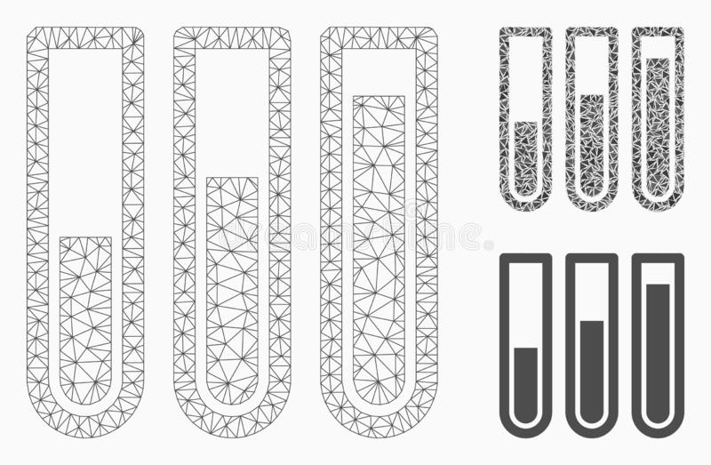 Test Tubes Vector Mesh Carcass Model and Triangle Mosaic Icon. Mesh test tubes model with triangle mosaic icon. Wire carcass triangular mesh of test tubes vector illustration