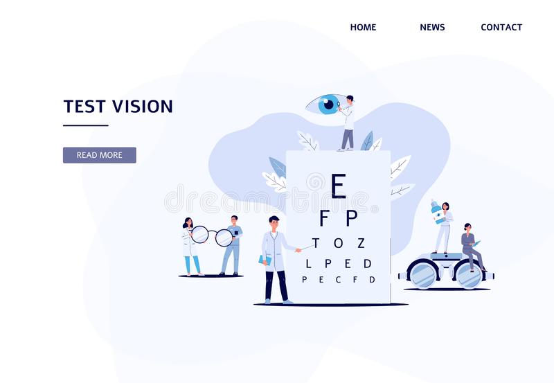 Test vision - cartoon flat landing page with eye doctor team. Holding sight diagnostic equipment - letter chart, glasses and binoculars. Vector illustration royalty free illustration