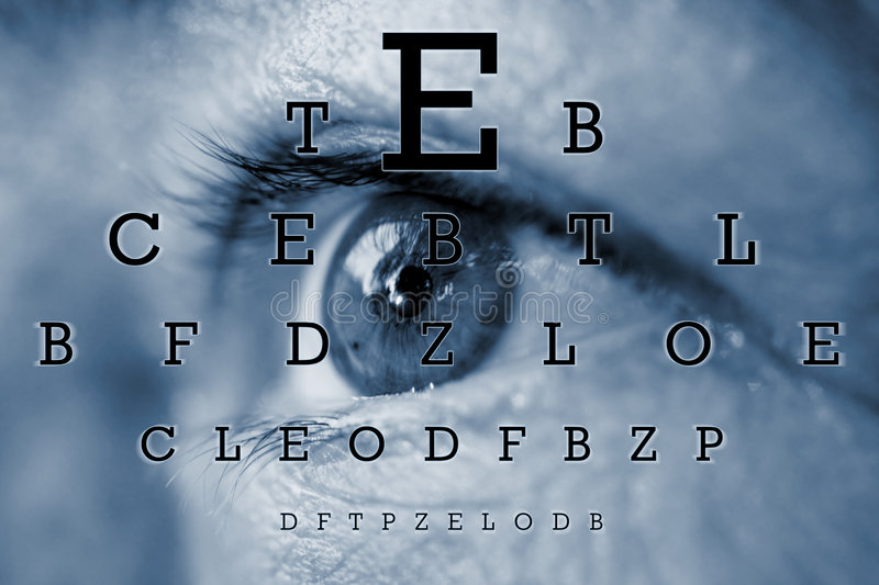 Test vision chart. An eye with test vision chart royalty free stock photo