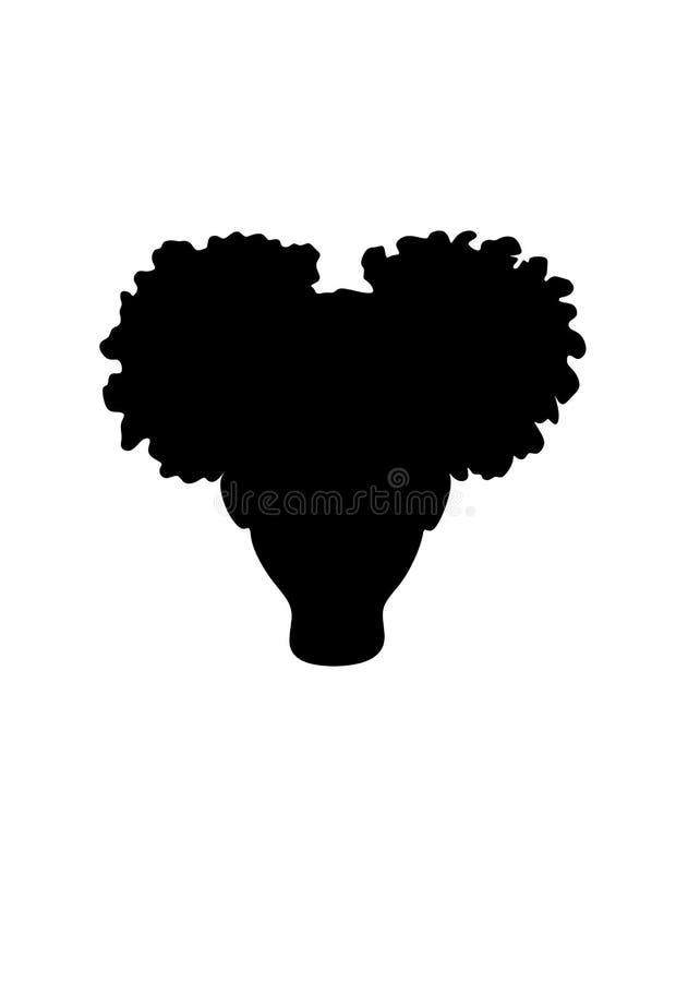 Testa americana della ragazza del piccolo africano nero con l'illustrazione riccia della siluetta di vettore del cricut dei soffi illustrazione di stock