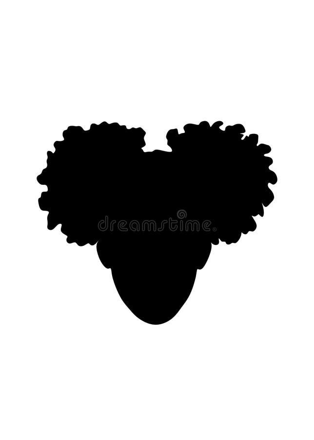 Testa americana della ragazza del piccolo africano nero con l'illustrazione riccia della siluetta di vettore del cricut dei soffi royalty illustrazione gratis