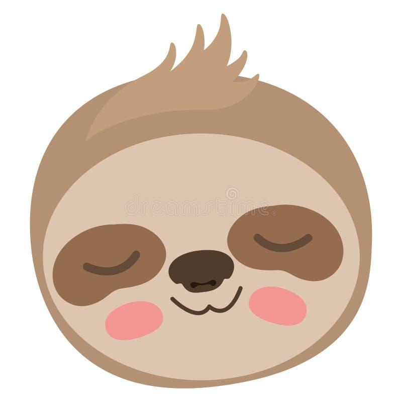 Testa animale di bradipo selvaggio illustrazione vettoriale