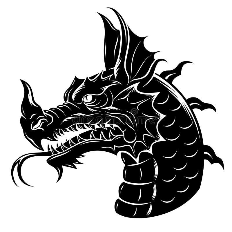 Testa araldica del drago illustrazione vettoriale