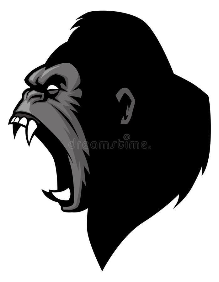 Testa arrabbiata della gorilla illustrazione di stock