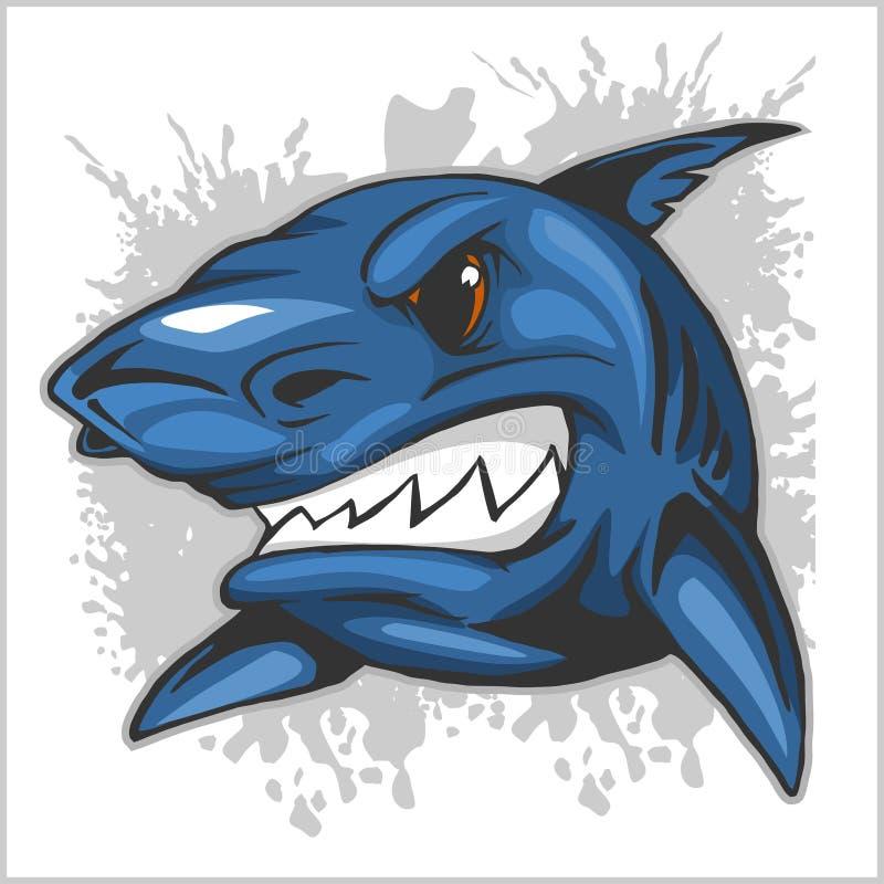 Testa arrabbiata dello squalo sul fondo di lerciume illustrazione di stock