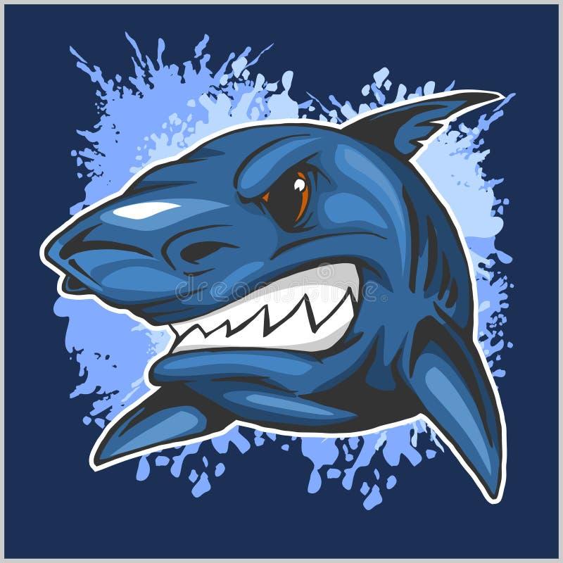 Testa arrabbiata dello squalo sul fondo di lerciume royalty illustrazione gratis