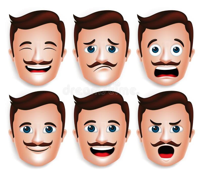 Testa bella realistica dell'uomo con differenti espressioni facciali royalty illustrazione gratis