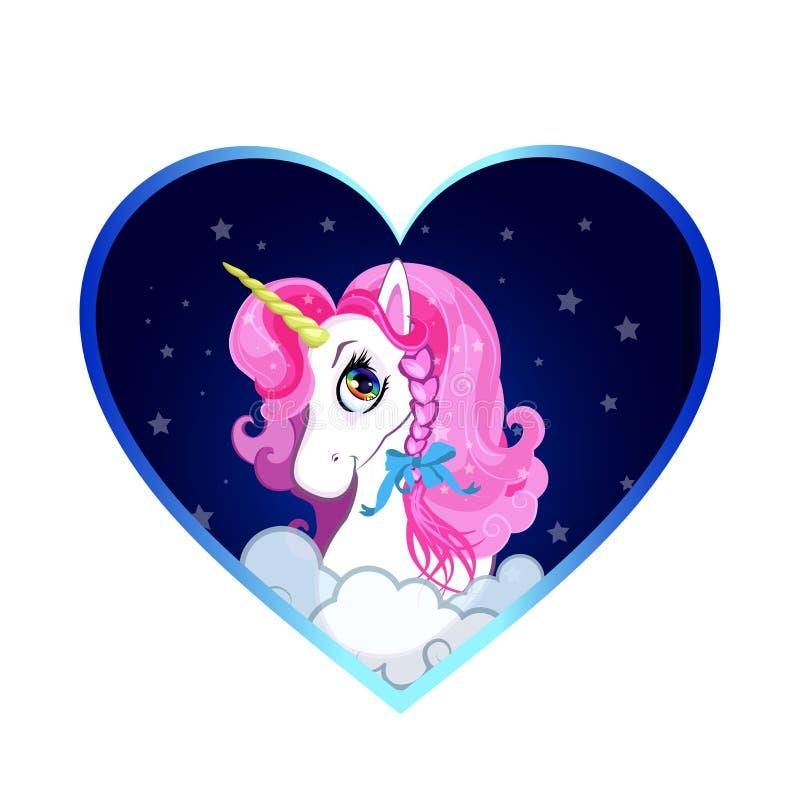 Testa bianca dell'unicorno del fumetto con il ritratto rosa dei capelli dentro del fondo del cuore illustrazione di stock