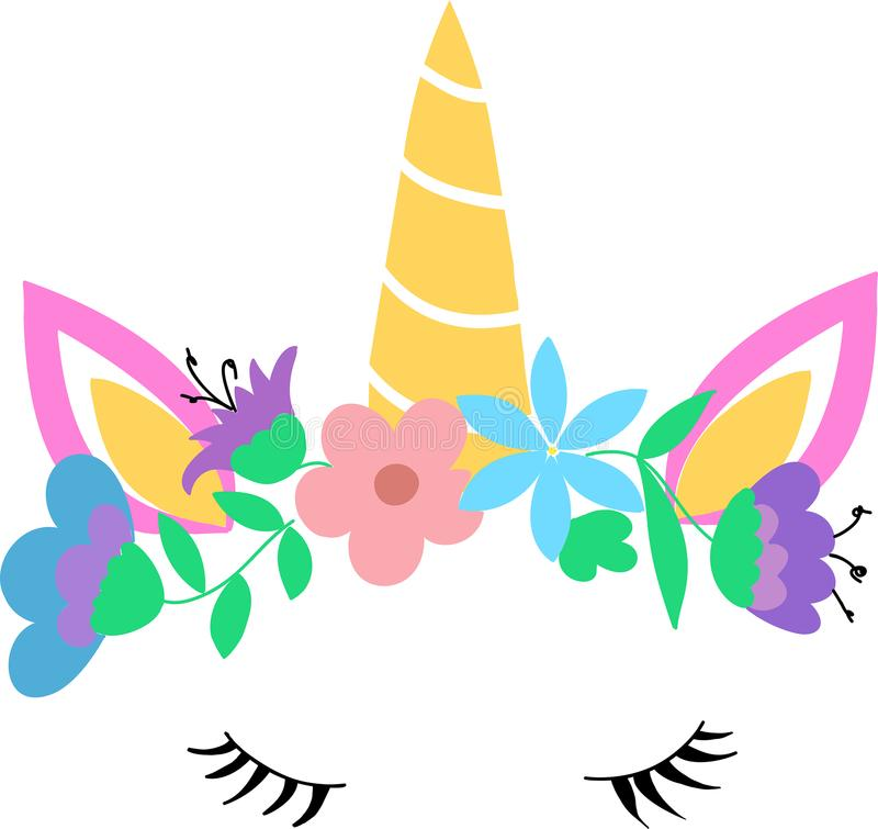 Testa bianca di vettore dell'unicorno con la corona dei fiori illustrazione di stock