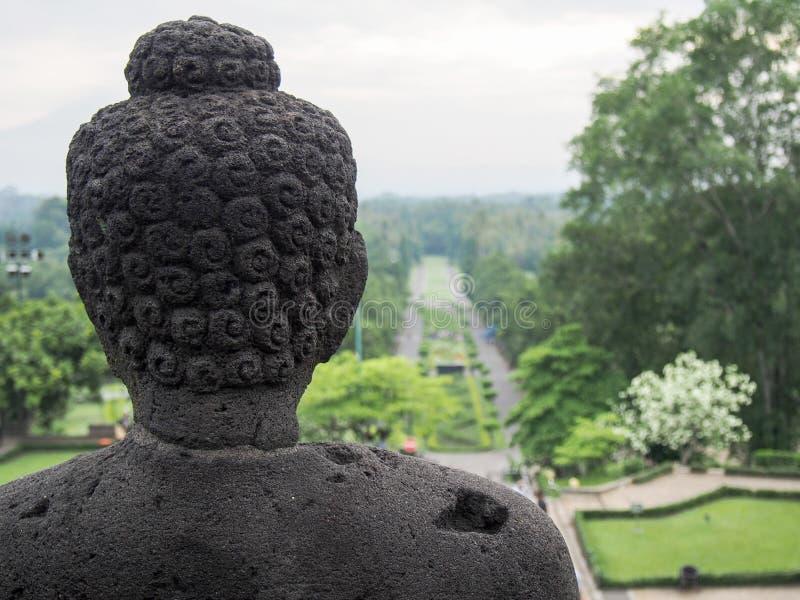Testa Borobudur della statua di Buddha immagine stock