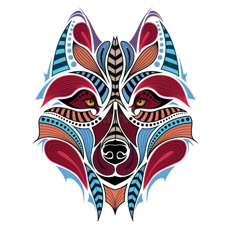 Testa colorata modellata del lupo Progettazione africana/indiano/totem/tatuaggio illustrazione vettoriale
