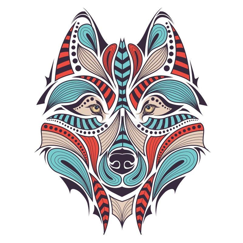 Testa colorata modellata del lupo Progettazione africana/indiano/totem/tatuaggio Può essere usato per progettazione di una maglie illustrazione vettoriale