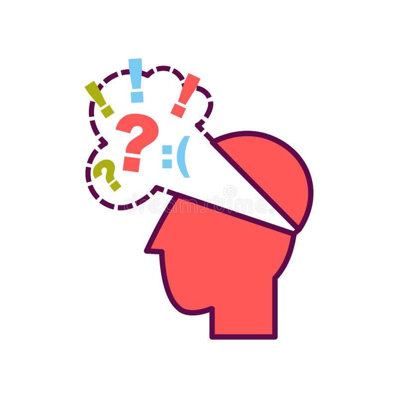 Testa con i pensieri negativi illustrazione vettoriale