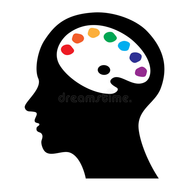 Testa con il cervello come gamma di colori royalty illustrazione gratis