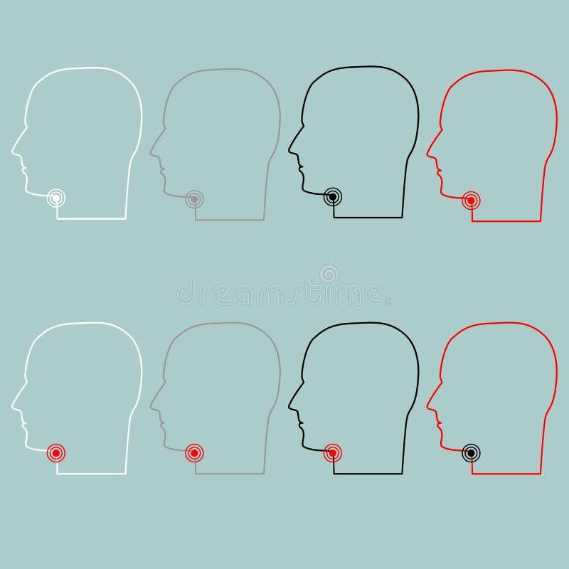 Testa con l'icona della gola irritata illustrazione vettoriale