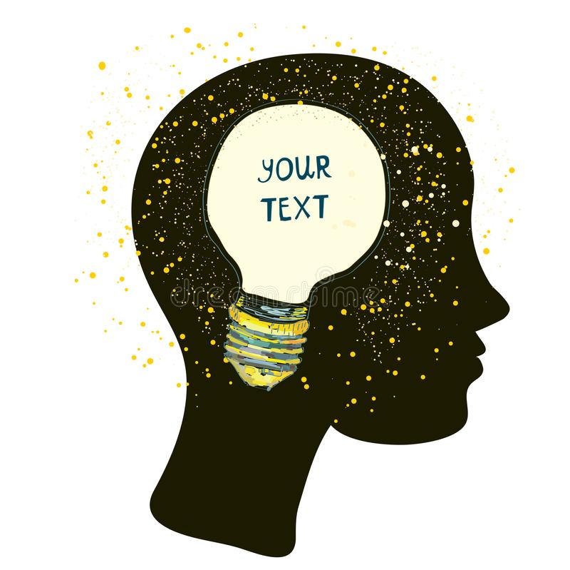 Testa con la lampadina - concetto della donna di idea illustrazione di stock