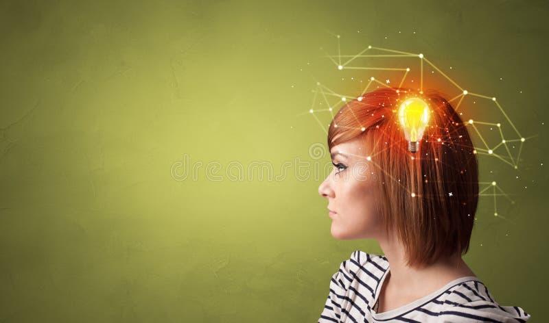 Testa con la nuovi idea e concetto della rete immagini stock libere da diritti