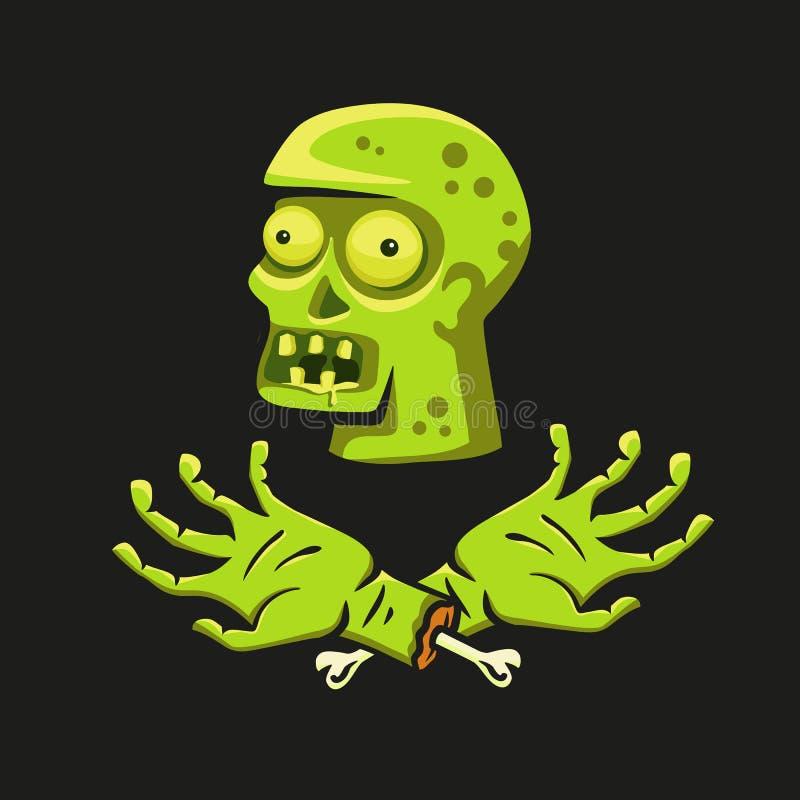 Testa con le mani, illustrazione dello zombie su un tema dello zombie illustrazione di stock