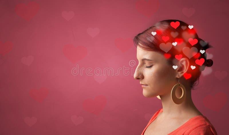 Testa con pieno di amore immagini stock