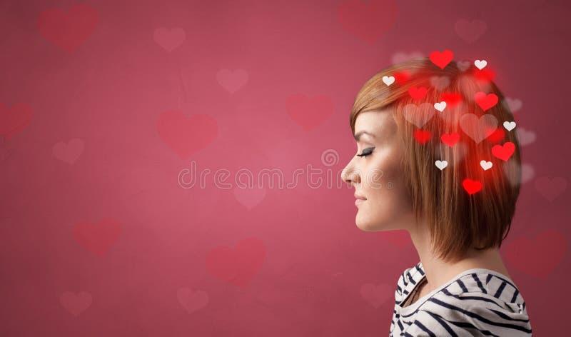 Testa con pieno di amore immagine stock