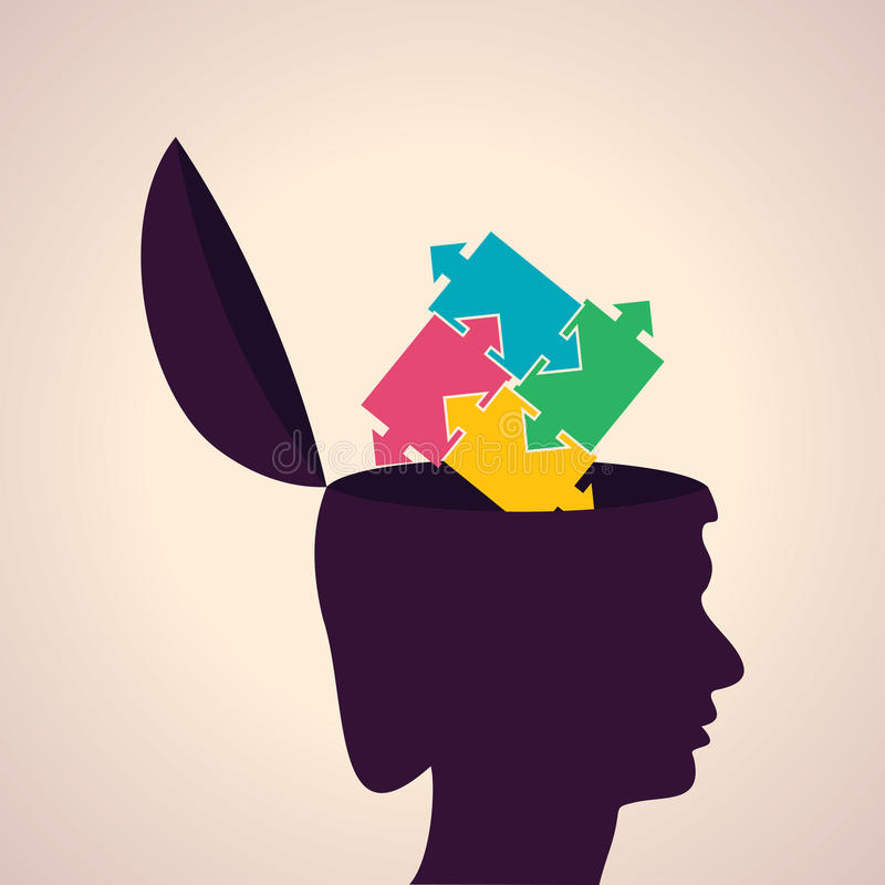 Testa concetto-umana di pensiero con i pezzi variopinti di puzzle illustrazione vettoriale