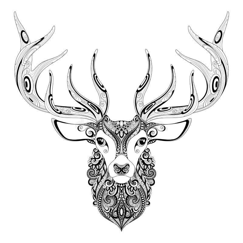 Testa cornuta dei cervi decorati di vettore illustrazione di stock