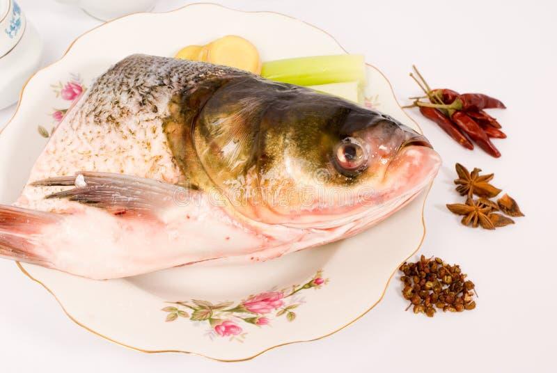 Testa cotta a vapore dei pesci, alimento cinese fotografie stock libere da diritti